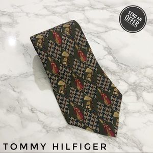 Tommy Hilfiger Vintage Diamond Green Golf Tie EUC